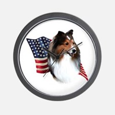 Sheltie(sbl) Flag Wall Clock