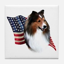 Sheltie(sbl) Flag Tile Coaster