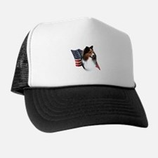 Sheltie(sbl) Flag Trucker Hat
