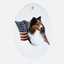 Sheltie(sbl) Flag Oval Ornament