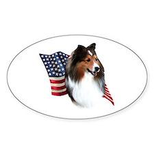 Sheltie(sbl) Flag Oval Bumper Stickers