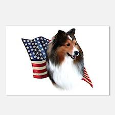 Sheltie(sbl) Flag Postcards (Package of 8)