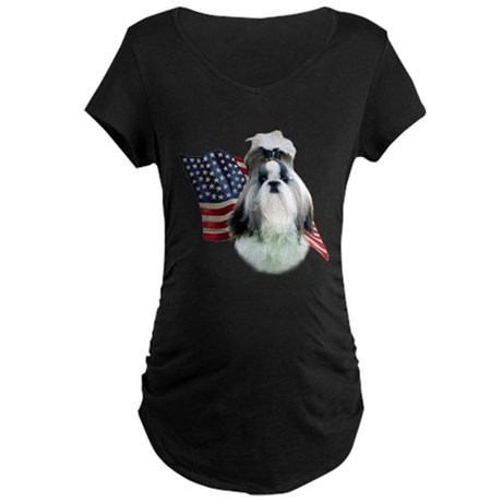 Shih Tzu Flag2 Maternity Dark T-Shirt
