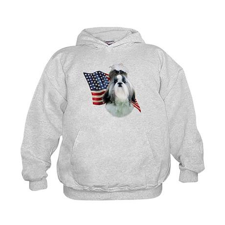 Shih Tzu Flag2 Kids Hoodie