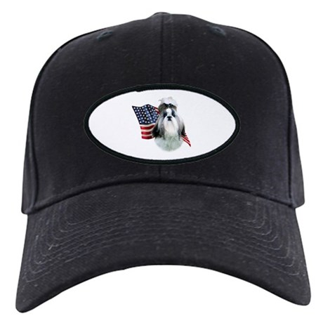 Shih Tzu Flag2 Black Cap