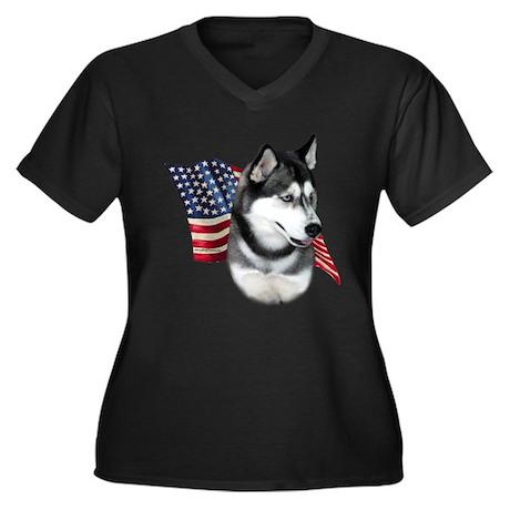 Husky(blk) Flag Women's Plus Size V-Neck Dark T-Sh