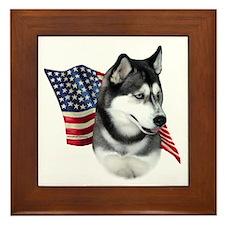 Husky(blk) Flag Framed Tile