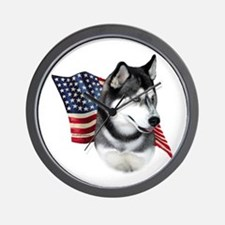 Husky(blk) Flag Wall Clock