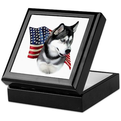 Husky(blk) Flag Keepsake Box