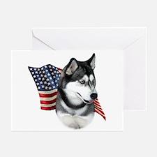 Husky(blk) Flag Greeting Cards (Pk of 10)