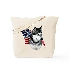 Husky(blk) Flag Tote Bag