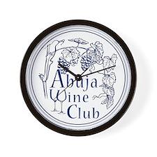 Abuja Wine Club With Grapes - Navy Wall Clock