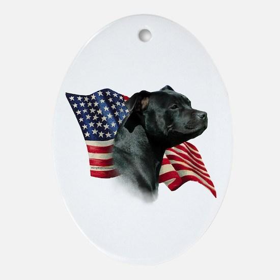 Staffy Flag Oval Ornament