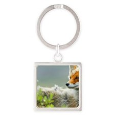 Red Fox Square Keychain