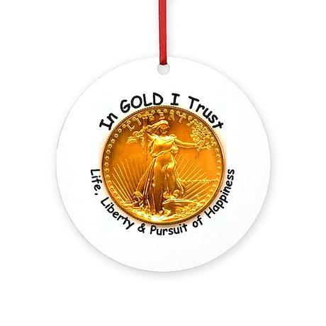 Gold Liberty Black Motto Ornament (Round)