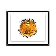 Gold Liberty Black Motto Framed Panel Print