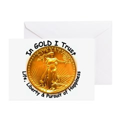 Gold Liberty Black Motto Greeting Cards (Pk of 10)