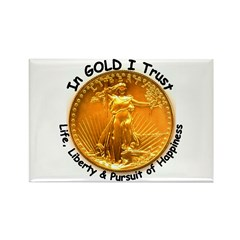 Gold Liberty Black Motto Rectangle Magnet (10 pack