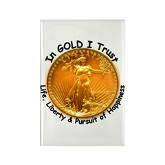 Gold Liberty Black Motto Rectangle Magnet (100 pac