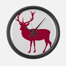 Red Deer Stag Party Large Wall Clock