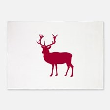 Red Deer Stag Party 5'x7'Area Rug