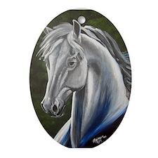 Grey Morgan Stallion I: Hawk Ornament (Oval)