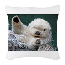 a white otter Woven Throw Pillow