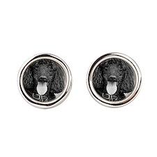 Black Poodle Round Cufflinks