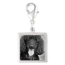 Black Poodle Silver Square Charm