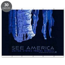 Caving Travel Cavern Vintage Travel Poster Puzzle