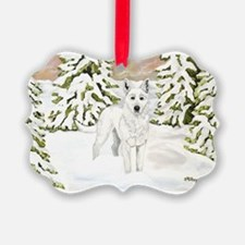 White Dog Wolf Winter Holiday Ornament