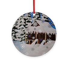 Holiday Winter Cabin Design Ornament (round)