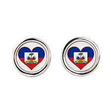 00-but-haitianflagheart.png Round Cufflinks