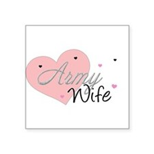 """Cute Silent ranks army wife Square Sticker 3"""" x 3"""""""