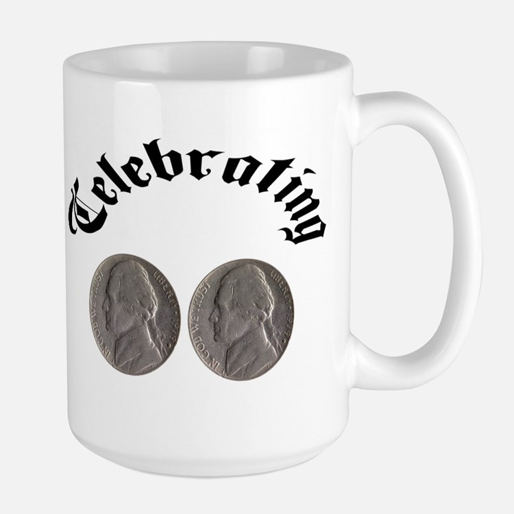 celebratingdoublenickle.jpg Mugs