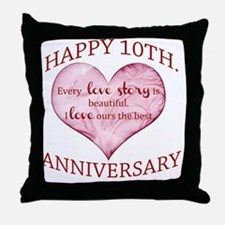 10th. Anniversary Throw Pillow