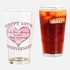 10th. Anniversary Drinking Glass
