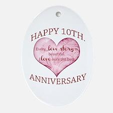 10th. Anniversary Ornament (Oval)