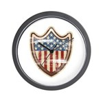 USA Flag Patriotic Shield Wall Clock