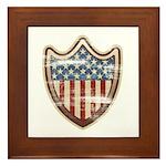 USA Flag Patriotic Shield Framed Tile