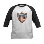USA Flag Patriotic Shield Kids Baseball Jersey