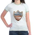 USA Flag Patriotic Shield Jr. Ringer T-Shirt