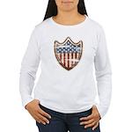 USA Flag Patriotic Shield Women's Long Sleeve T-Sh