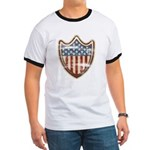 USA Flag Patriotic Shield Ringer T