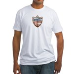 USA Flag Patriotic Shield Fitted T-Shirt