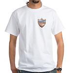 USA Flag Patriotic Shield White T-Shirt