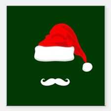 "Santa Hat and Mustache Square Car Magnet 3"" x 3"""