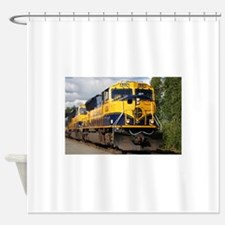 Alaska Railroad engine locomotive Shower Curtain