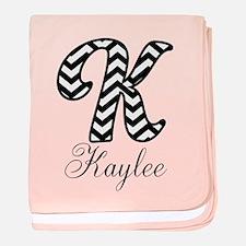 Monogram K Your Name Custom baby blanket