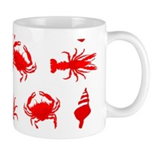 Bayou Red and White Mugs